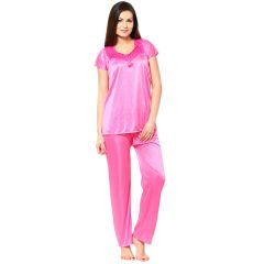 Sassily Satin Free Size Night Suit For Women - (Code - Night_Suit-Top_and_Payjama-Light_Pink)