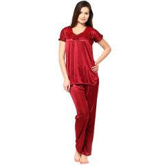 Sassily Satin Free Size Night Suit For Women - (Code - Night_Suit-Top_and_Payjama-Maroon)