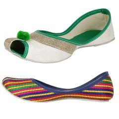 Sassily Womens Green &  Handicraft Multicolor jutti (SS-218_219)