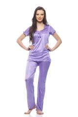 Sassily Satin Free Size Night Suit For Women - (Code - Night_Suit-Top_and_Payjama-Deep_Purple)