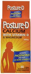 Posture-D Calcium Supplement Caplets with Vitamin D, 600 mg, 60-Count Bottles (Pack of 2)