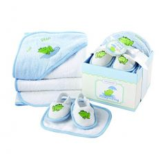 Baby Aspen, Finley the Frog Four-Piece Bathtime Gift Set, Blue, 0-6 Months