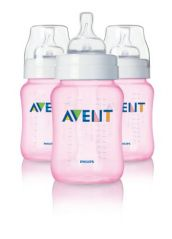 Philips AVENT BPA Free Classic Polypropylene Bottle, Pink, 9 Ounce, 3 Pack