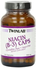Twinlab Niacin (B-3) 500mg, 100 Capsules (Pack of 4)