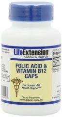 Life Extension Folic Acid + B12 Capsules, 200-Count