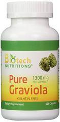 Biotech Nutritions 100% Pure Graviola 1300mg Per Servings 120 Capsules Per Bottle
