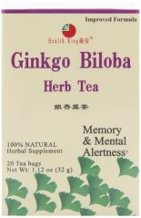 Health King  Ginkgo Biloba Herb Tea, Teabags, 20-Count Box (Pack of 6)