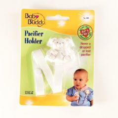 Baby Buddy Bear Pacifier Holder, White