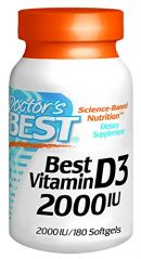 "Doctor""s Best Best Vitamin D3 2000 IU, Softgel Capsules, 180-Count"