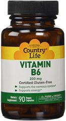 Country Life Vitamin B-6,  200 Mg, 90-Count