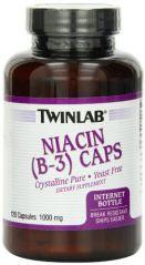 Twinlab Niacin B-3 1000mg Capsules, 120 Count