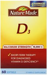 Nature Made Maximum Strength Vitamin D 10,000 I.U. Soft gel, 60 Count