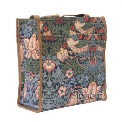 Signare Tapestry Shopping Tote Bag with William Morris with Strawberry Thief Design Blue