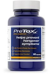 PreToxx for Hangovers & Liver Support (60 Vegetarian Capsules with Prickly Pear, Milk Thistle, Cysteine, and Electrolyte Blend)