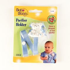 Baby Buddy Bear Pacifier Holder, Blue