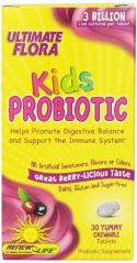 Renew Life Ultimate Flora Kids Probiotic Chewable Tablets, 30 Count