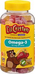 """L""""il Critters Omega-3 Gummy Fish with DHA, 120-Count Bottles (Pack of 3)"""