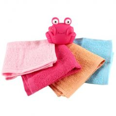 Luvable Friends Baby Washcloths and Bath Toy, Pink