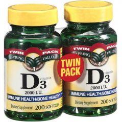 Spring Valley twin pack vitamin d3 2000I.U. Immune Health/Bone Health, 200 softgels (2 Pack)