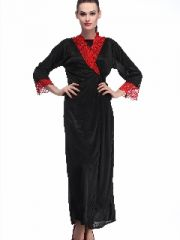Belle Nuits Poly Satin Black Women Sleepwear-(Code-BNF0016BROBE)