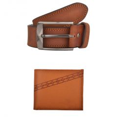 Exotique Men's Tan Casual Belt & Wallet Combo (EC0006TN)