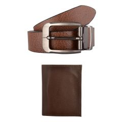 Exotique Men's Brown Casual Belt & Wallet Combo (EC0011BR)