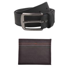 Exotique Men's Black Casual Belt & Wallet Combo (Code-EC0053BK)