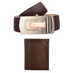Exotique Men's Brown Casual Belt & Wallet Combo (Code-EC0054BR)