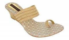 Exotique Women's Gold Fashion Slip-on(EL0046GO)