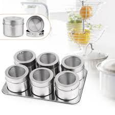Magnetic Spice Jar Stainless Steel Condiments Pot Household Kitchen Spices Bottle