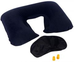 Productmine 3 In 1 Essential Travel Pack- Neck Pillow, Eye Mask And Earplugs.