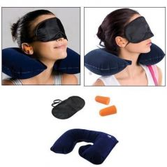 Three Tourists Treasures 3 In 1 Travel Set,neck Cushion Eye Mask Ear Plug