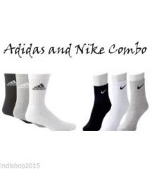 Set Of 6 Pairs - 3 Adidas 3 Nike Logo Sports Ankle Length Socks