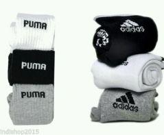 Set Of 6 Pairs - 3 Adidas 3 Puma Logo Sports Ankle Length Socks