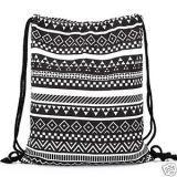 Aeoss Canvas Aztec Geometric Tribal Print Drawstring Gym College School Backpack Bag