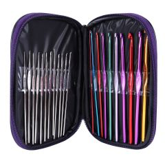 Aeoss 22pcs Aluminum Crochet Hooks Needles Knit Weave Stitches Knitting Craft with Case