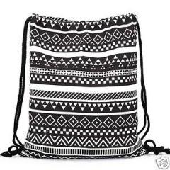 School Bags - Aeoss Canvas Aztec Geometric Tribal Print Drawstring Gym College School Backpack Bag