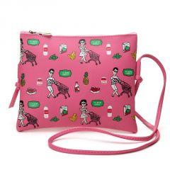Aeoss Graffiti Print Soft Leather Bag Women Designer Shoulder Bag Messenger Bag A306DP