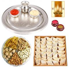 Thali with Dry Fruits and Sweeys for Diwali