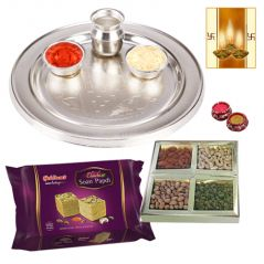 Thali with Sweets and Dry Fruits for Diwali