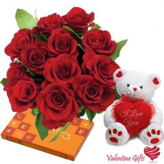 Valentine Gifts   Gift Hampers - Valentine Gifts - Rose Teddy Chocolate Hamper