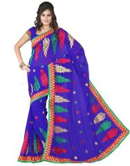 Shop or Gift Elegant blue chiffon saree with embroidered borders Online.