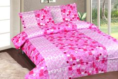 Royal Choice Pink Cotton Double Bedsheet Alongwith Two Pillow Covers