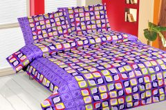 Royal Choice Purple Cotton Double Bedsheet Alongwith Two Pillow Covers