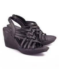 Naughty Walk Black Genuine Leather Wedges 706