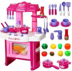 Kids Play Big Kitchen Cook Set Toy Pretend Kitchen Set Js