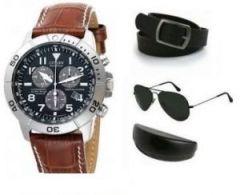 Men's Accessories - Ksr e Trade Mens Faux Leather Belt Strap Watch Aviator Sunglasses