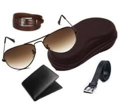 KSR eTrade Combo Of Italian Leather Wallet And 2 Leather Belts With Aviator Sunglasses
