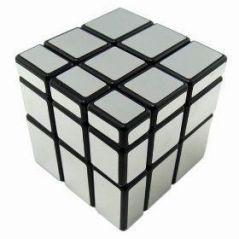 Puzzles, Cubes - Yj Mirror Cube 3x3 Silver Black