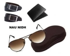 Naunidh Leatherite Wallet And 2 Gents Leather Belts With Aviator Sunglasses